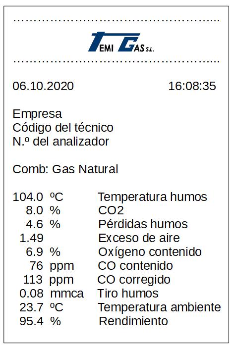 Ejemplo de ticket de análisis de la combustión en caldera